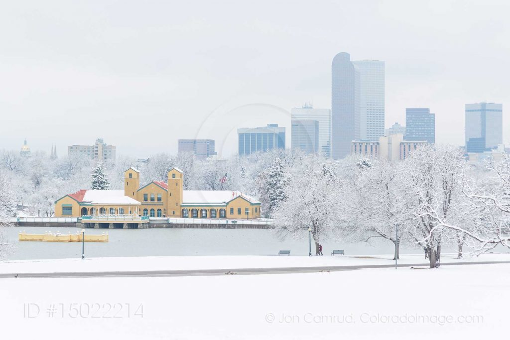 Denver skyline winter photo for sale